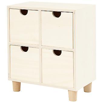 Unidade de gaveta mini 4 de madeira compensada para decorar