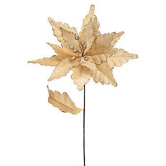 57cm Gold Velvet och Glitter Poinsettia Stem för floristry hantverk