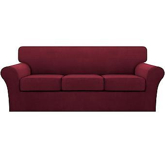 Stretch soffa täcker vinröda sofföverdrag för vardagsrum soffa slipcovers (basskydd plus 1/2/3 / säte kudde lock)-vinröd
