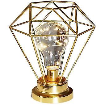 Bedside Lamp Decorative Night Lamp,bulb Night Light Retro Table Lamp Metal Battery Desk Lamp