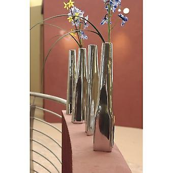 Set of 4 Modern Silver Mirror Finish Narrow Flower Vases