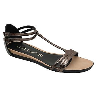 Unisa Metallic Pewter Flat T-strap Sandal With Double Adjustable Ankle Straps