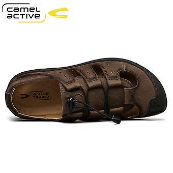 Kamelaktiv mote komfortabel myk romersk gladiator ekte skinn sandaler menn beathable utendørs fotturer sommer fottøy