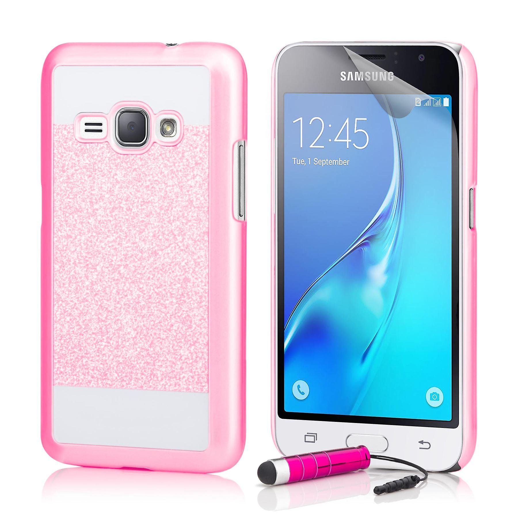 Glitter case + stylus for Samsung Galaxy J1 (2015) - Pink