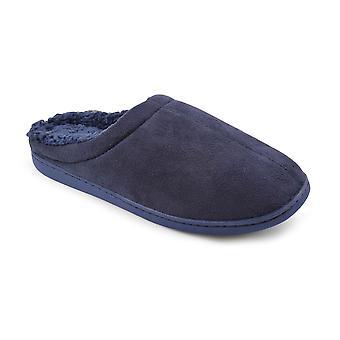 SlumberzzZ Mens Memory Foam Fleece Lined Mule Slippers