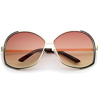 إطار معدني التدرج عدسة ملونة كبيرة الحجم جولة النظارات الشمسية المرأة 67 ملم