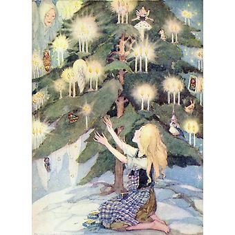 かわいそうにその少女が座っていた、ゴールデンか出版 1934 マッチ売りの少女イラスト最も美しいクリスマス ツリーの下で彼女はヒラリー ジェーン Mo でポスター印刷を見た
