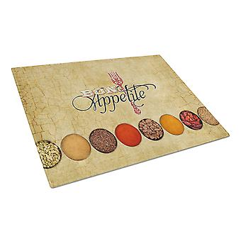 Bon Appetite and Spices Glass Cutting Board Large Size