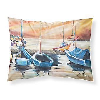 Vista al mar con veleros tela funda de almohada estándar