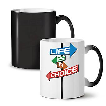 Choice Life Path Slogan NEW Black Colour Changing Tea Coffee Ceramic Mug 11 oz | Wellcoda