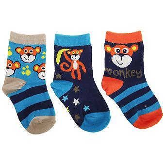 Baby Boys Monkey Design Cotton Rich Socks (Pack Of 3)