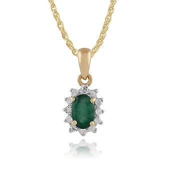 Classic Oval Emerald & Diamond Cluster Pendant Necklace in 9ct Yellow Gold 27016