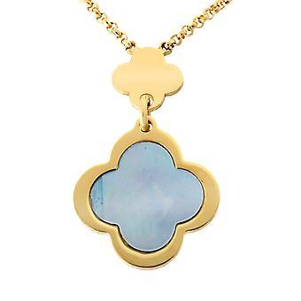 Orphelia argento 925 collana oro più fiori blu Mop ZK-7169/G