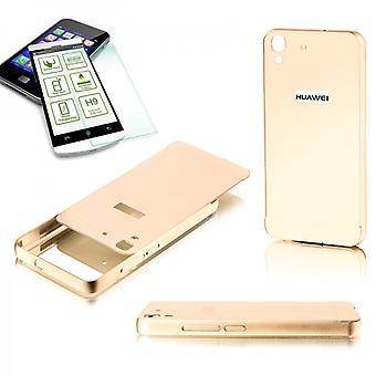 הלו מחבט 2 חתיכת זהב + 0.3 mm H9 מזג זכוכית עבור Huawei Y6