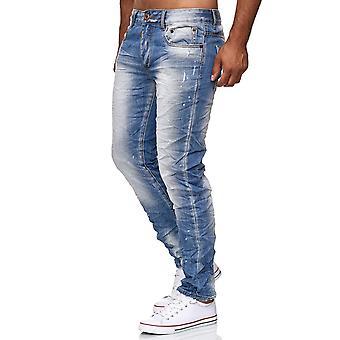 Mäns Jeans byxor Wrinkle Vintage används titt Denim byxor Slim Fit stentvättade