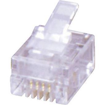 Enchufe modular RJ12, recta número de pernos: 6P6C MHRJ126P6CR transparente MH conectores 6510-0104-04 1 PC