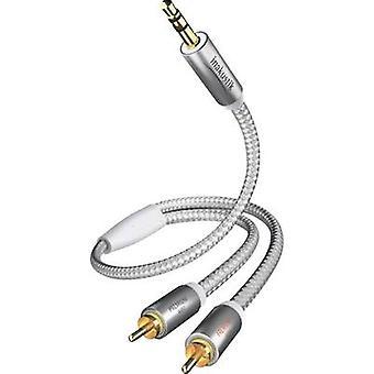 RCA إيناكوستيك/كابل الصوت جاك/فونو [2 x RCA التوصيل (فونو)-1 x المكونات جاك 3.5 مم] م 3 الأبيض، موصلات مطلي الذهب الفضة