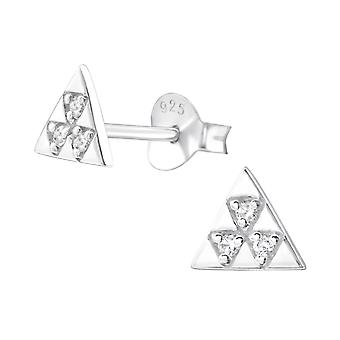 Triangle - 925 Sterling Silver Cubic Zirconia Ear Studs - W26029x