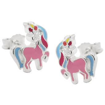 Plug 10x8mm mythical creatures horse with Horn Silver 925
