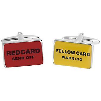 Zennor punainen ja keltainen kortti kalvosinnapit - punainen/keltainen