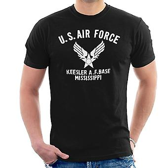 US Airforce Keesler AF Base Mississippi White Text Men's T-Shirt