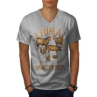 Animal Whisperer Farmer Men GreyV-Neck T-Shirt | Wellcoda
