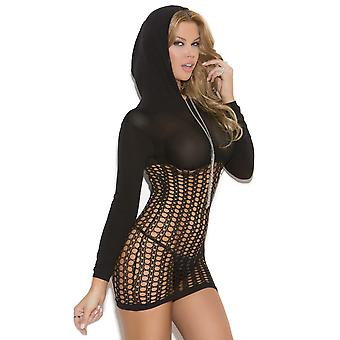 Crochet Long Sleeve Mini Dress Hood