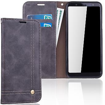 Cell phone cover case voor Samsung Galaxy A6 plus 2018 dekken Wallet case grijs