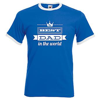 Best Dad in the World Tshirt Royal Blue White Top