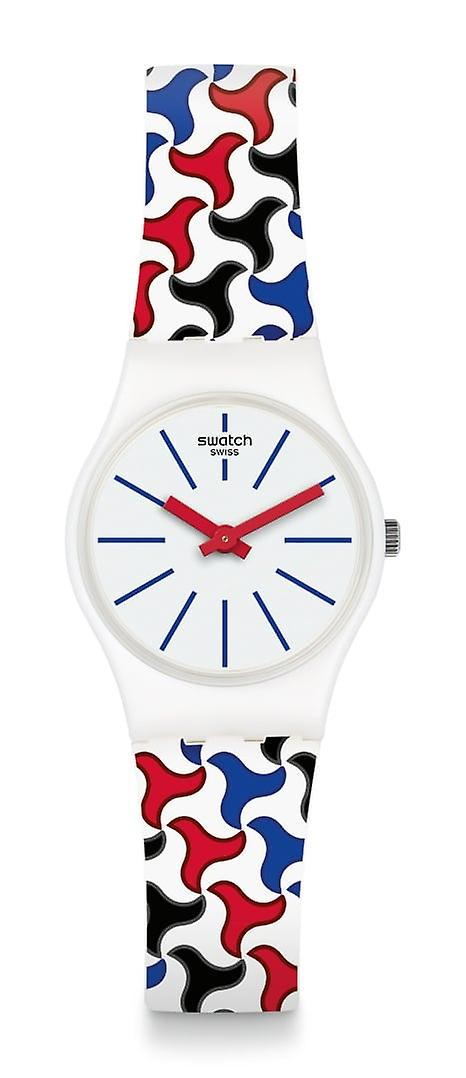 Swatch Pattu White Silicone Strap White Plastic Case Unisex Xmas Collection Watch LW156 25mm