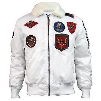 Top Gun Official B 15 Mens Flight Bomber Jacket with Patches White
