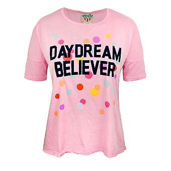 Junk Food Daydream Believer Women's Oversized Crop Top Pink