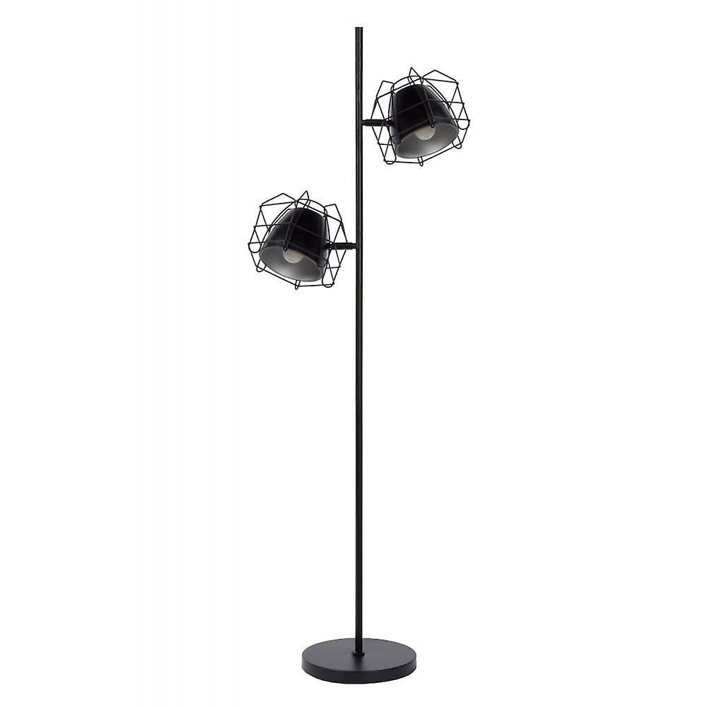 Lucide Grid moderne hjørne formede metall sort og sølv gulvlampe