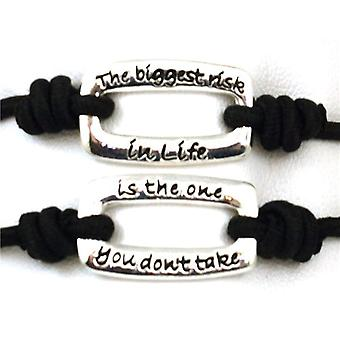 """TOC Bandz Black The Biggest Risk...Is The One You Don't Take 6"""" Stretch Bracelet"""