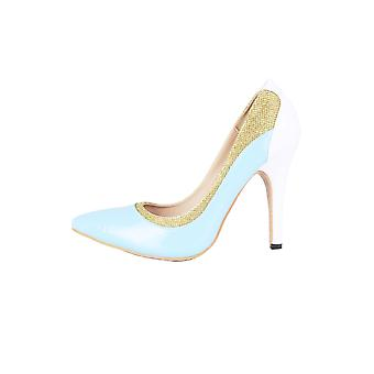 LMS Turquoise Court Shoes With White Heel And Gold Accent