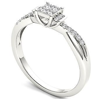 Igi certifierad 14k vitt guld 0,25 ct prinsessa diamant klassisk förlovningsring