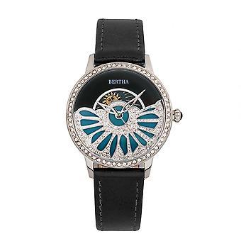 Bertha Adaline nácar reloj correa de cuero - negro