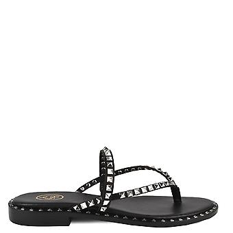 Ash PULP Sandals Black Leather & Silver Studs
