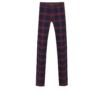 Dobell Mens Burgundy Tartan Suit Trousers Tailored Fit