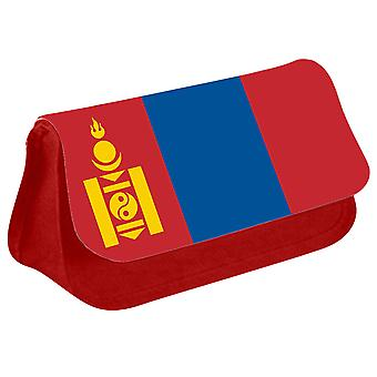 Mongolia Flag Printed Design Pencil Case for Stationary/Cosmetic - 0116 (Red) by i-Tronixs
