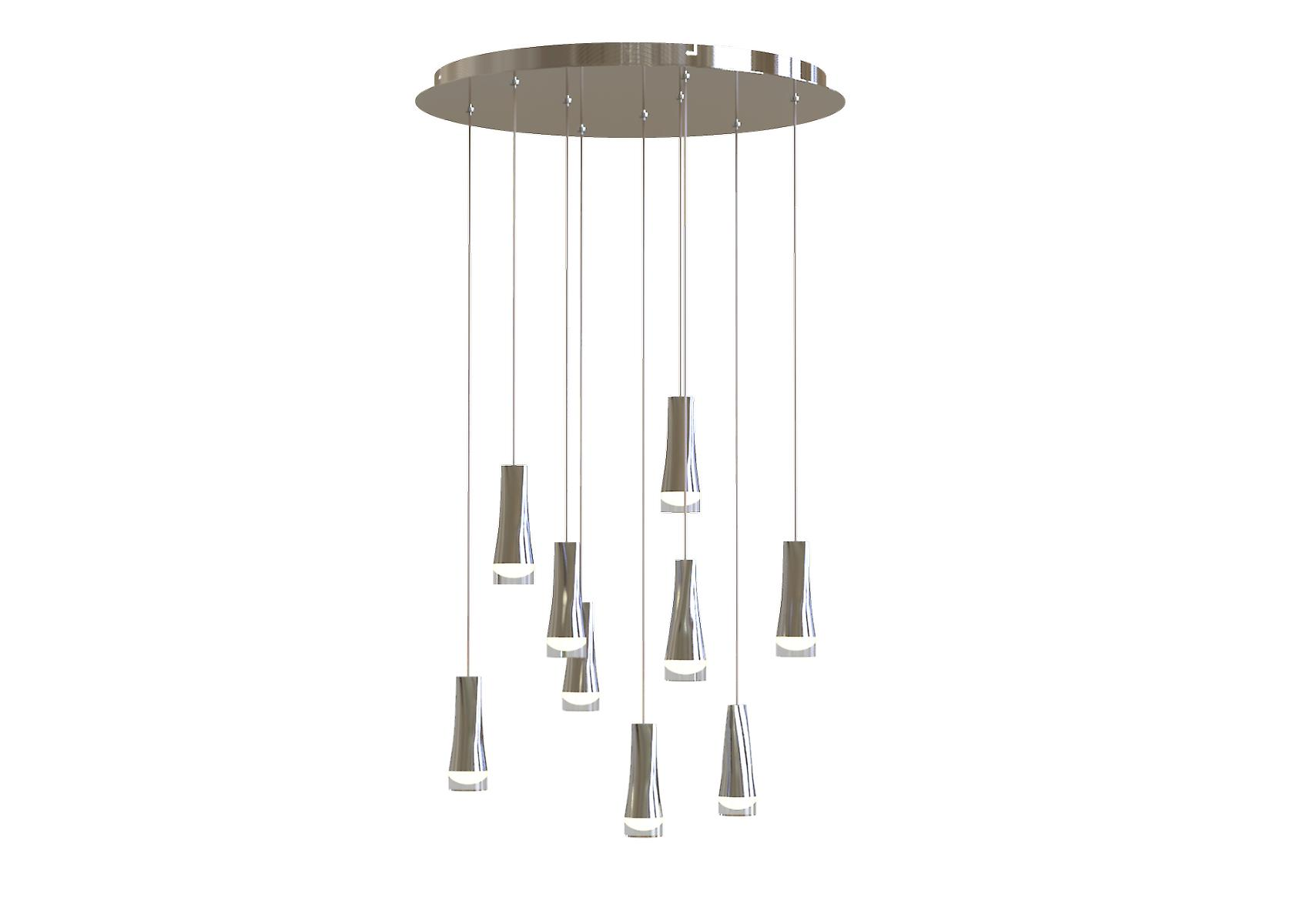 Ceiling Light Chrome Nine Pendant Lamp Industrial Chandelier Light Round Canopy