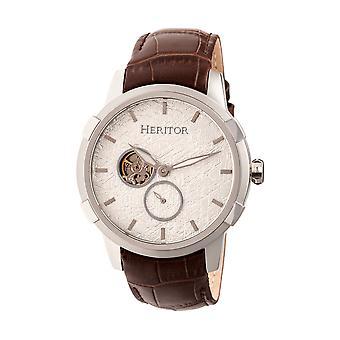 Heritor s Callisto automático reloj de venda de cuero semi-esqueleto - plata