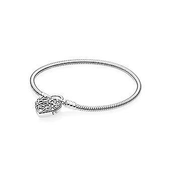 PANDORA glatt Silber Vorhängeschloss Armband Größe 23 - 597602-23