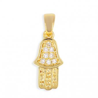 Fatima Hand Gold-Plated Pendant With Zirconia Cubic