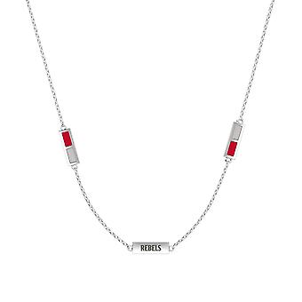 University Of Nevada Las Vegas Sterling Silver Engraved Triple Station Necklace In Red and Grey