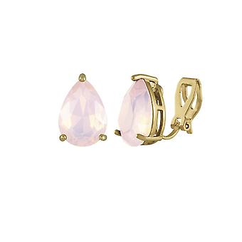 Eternal Collection Seduction Teardrop Rosewater Opal Crystal Gold Tone Stud Clip On Earrings