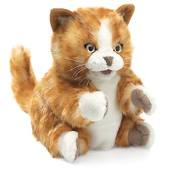 Hand Puppet - Folkmanis - Kitten Orange Tabby New Animals Soft Doll Plush 2845