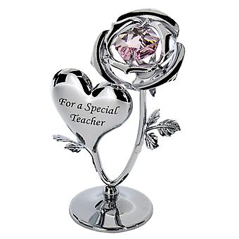 Crystocraft Chrome Plated Rose & Heart Ornament (TEACHER)