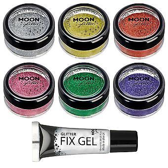 Klassische ultrafeine Glitter Staub von Mond Glitter - 100 % kosmetische Glitter für Gesicht, Körper, Nägel, Haare und Lippen - 5g - Set von 6 (Silber, Gold, Kupfer Bronze, rosa, grün, Lavendel)