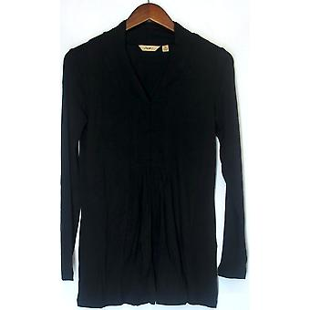 Motto Long Sleeve V-neck Pleated Front Knit Top Dark Black A91828
